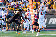 Baltimore, MD - SEPT 10, 2016: St. Francis (Pa) Red Flash wide receiver Kamron Lewis (11) gets by Towson Tigers cornerback Lyrics Klugh (26) for a touchdown during their match up at Johnny Unitas Stadium in Baltimore, MD. The Tigers defeated St. Francis 35-28. (Photo by Phil Peters/Media Images International)