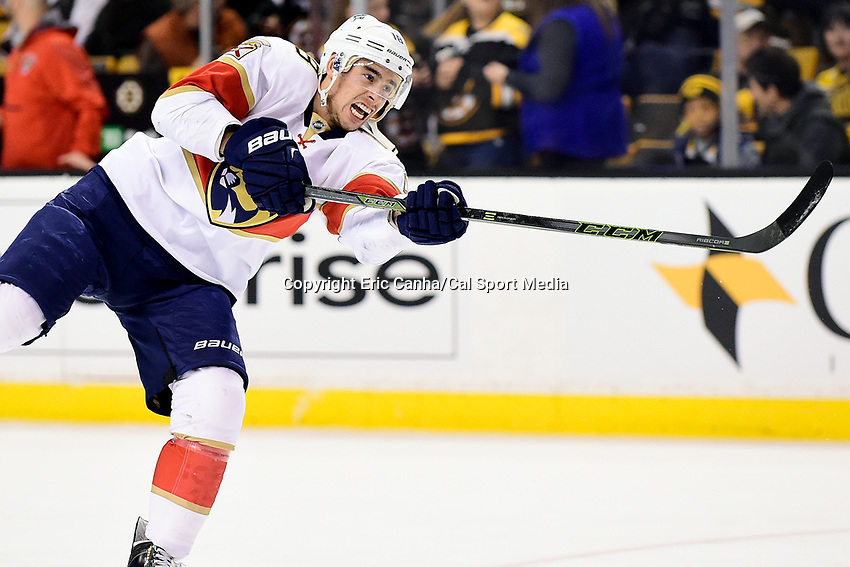 Monday, December 5, 2016: Florida Panthers right wing Reilly Smith (18) warms up before the start of the National Hockey League game between the Florida Panthers and the Boston Bruins held at TD Garden, in Boston, Mass. Boston defeats Florida 4-3 in overtime. Eric Canha/CSM