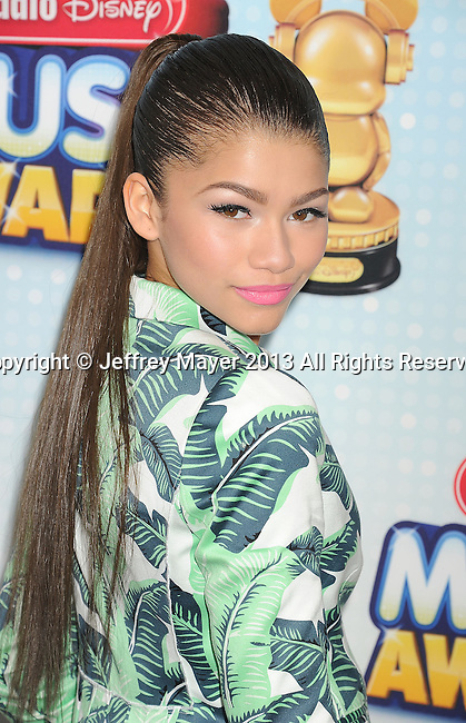 LOS ANGELES, CA- APRIL 27: Actress/singer Zendaya Coleman arrives at the 2013 Radio Disney Music Awards at Nokia Theatre L.A. Live on April 27, 2013 in Los Angeles, California.