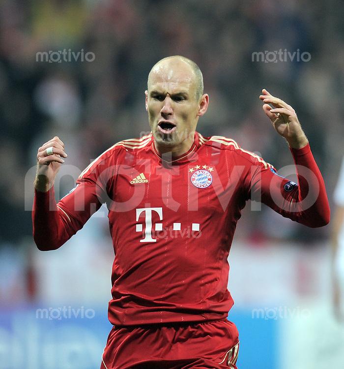 FUSSBALL   CHAMPIONS LEAGUE   SAISON 2011/2012   ACHTELFINALE RUECKSPIEL     13.03.2012 FC Bayern Muenchen - FC Basel        JUBEL nach dem Tor Arjen Robben (FC Bayern Muenchen)