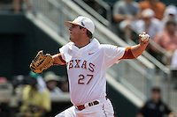 Texas Longhorns pitcher Travis Duke (27) delivers a pitch to the plate during the NCAA Super Regional baseball game against the Houston Cougars on June 7, 2014 at UFCU Disch–Falk Field in Austin, Texas. The Longhorns are headed to the College World Series after they defeated the Cougars 4-0 in Game 2 of the NCAA Super Regional. (Andrew Woolley/Four Seam Images)
