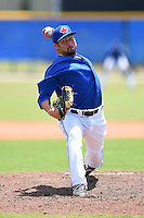 GCL Blue Jays pitcher Brandon Hinkle (47) delivers a pitch during a game against the GCL Yankees 2 on July 2, 2014 at the Bobby Mattick Complex in Dunedin, Florida.  GCL Yankees 2 defeated GCL Blue Jays 9-6.  (Mike Janes/Four Seam Images)