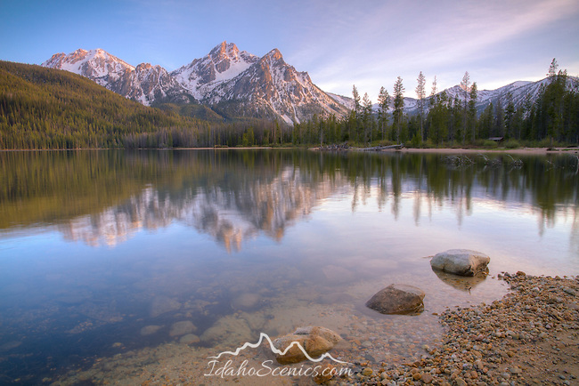 Idaho, South Central, SNRA, Stanley, Mt.McGowan reflected in the calm waters of Stanley Lake at sunset.