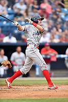 Lakewood BlueClaws left fielder David Martinelli (31) swings at a pitch during a game against the Beer City Tourists at McCormick Field on June 1, 2017 in Asheville, North Carolina. The Tourists defeated the BlueClaws 8-5. (Tony Farlow/Four Seam Images)
