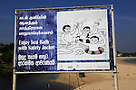 Information sign about bathing with safety jackets, Pasikudah Bay, Eastern Province, Sri Lanka, Asia
