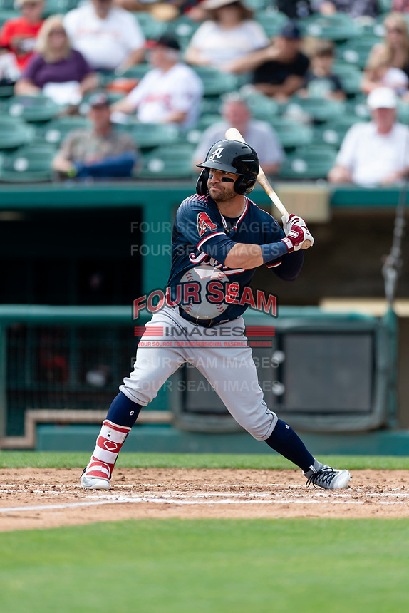 Reno Aces Andrew Aplin (9) batting during a game against the Fresno Grizzlies at Chukchansi Park on April 8, 2019 in Fresno, California. Fresno defeated Reno 7-6. (Zachary Lucy/Four Seam Images)