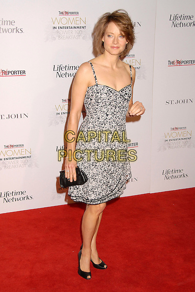 JODIE FOSTER.Hollywood Reporter Women in Entertainment Power 100 Breakfast at the Beverly Hills Hotel, Beverly Hills, California, USA, 4 December 2007..full length black and white floral print dress.CAP/ADM/BP.©Byron Purvis/AdMedia/Capital Pictures.