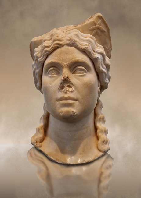 Roman portrait head of a women wearing a priestess crown. Found in Aphrodisias Theatre. First Century AD. Aphrodisias Archaeology Museum Turkey