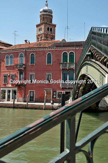 A bridge over a canal on Murano Island, the glass making island outside of Venice, Italy