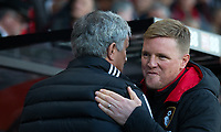 AFC Bournemouth Manager Eddie Howe welcomes Man Utd Manager Jose Mourinho during the Premier League match between Bournemouth and Manchester United at the Goldsands Stadium, Bournemouth, England on 18 April 2018. Photo by Andy Rowland.