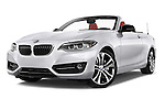 Stock pictures of low aggressive front three quarter view of 2017 BMW 2-Series 230i 2 Door Convertible Low Aggressive