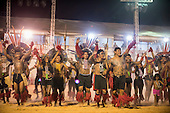 Karaja participants celebrate during the International Indigenous Games, in the city of Palmas, Tocantins State, Brazil. Photo © Sue Cunningham, pictures@scphotographic.com 24th October 2015