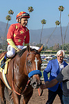 ARCADIA, CA  JUNE 23:#4 American Anthem, ridden by Mike Smith, are congratulated by Bob Baffert after winning the San Carlos Stakes on June 23, 2018, at Santa Anita Park in Arcadia, CA.  (Photo by Casey Phillips/Eclipse Sportswire/Getty Images)