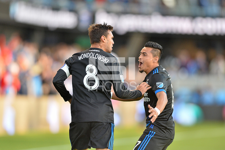 San Jose, CA - Saturday May 27, 2017: Chris Wondolowski, Darwin Ceren during a Major League Soccer (MLS) match between the San Jose Earthquakes and the Los Angeles Galaxy at Avaya Stadium.