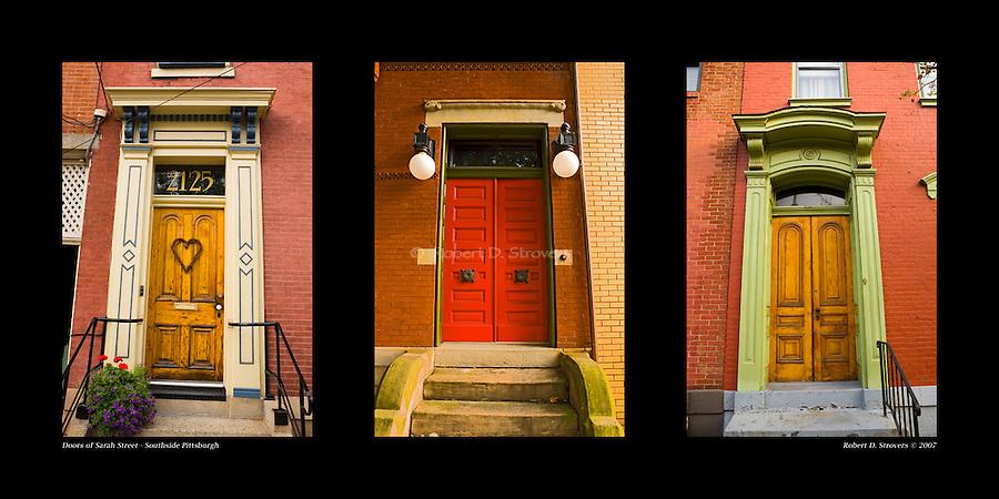 Pittsburgh Doors - Sarah Street, Southside Pittsburgh, set 1. 10 x 20 arrangement with 3 5x7 images.