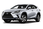 Stock pictures of low aggressive front three quarter view of 2019 Lexus NX 300h 5 Door SUV Low Aggressive