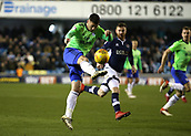 9th February 2018, The Den, London, England; EFL Championship football, Millwall versus Cardiff City; Gary Madine of Cardiff City with a volley towards goal
