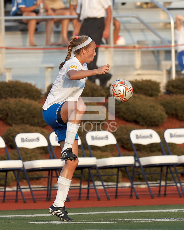 Boston Breakers defender Julie King (8) traps the ball. In a Women's Premier Soccer League Elite (WPSL) match, the Boston Breakers defeated New England Mutiny, 4-2, at Dilboy Stadium on June 20, 2012.