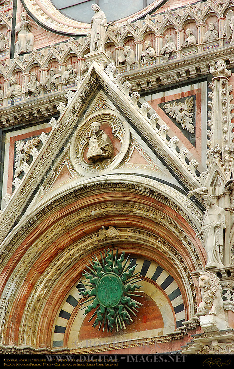 Central Portal Tympanum, 14th c. Bronze Trigram and Gothic Statuary, 13th c. Facade, Giovanni Pisano, Cathedral of Siena, Santa Maria Assunta, Siena, Italy