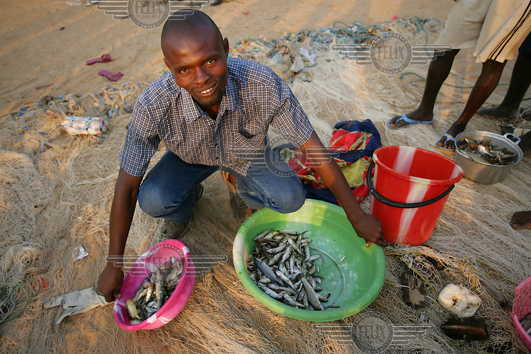 Fisherman sorting his catch.