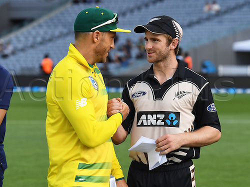 February 17th 2017,  Captains Kane Williamson and Faf du Plessis shake hands. International Twenty20 Cricket. New Zealand Black Caps v South Africa, Eden Park, Auckland, New Zealand. Friday 17 February 2017