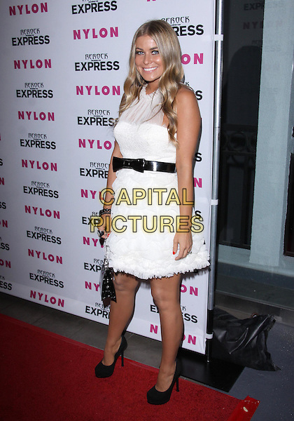 CARMEN ELECTRA.NYLON MAGAZINE + EXPRESS Celebrate the Denim Issue held at The London Hotel, West Hollywood, California, USA. .full length white sheer see thru through tanned mesh black waistband ruffles ruffle shoes bag sleeveless bow dress.CAP/ADM/TC.©T. Conrad/AdMedia/Capital Pictures.