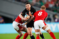 1st November 2019, Tokyo, Japan;  Sonny Bill Williams (NZL) is stopped in his tracks by the tackle from Ross Moriarty of Wales;  2019 Rugby World Cup 3rd place match between New Zealand 40-17 Wales at Tokyo Stadium in Tokyo, Japan.  - Editorial Use