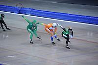 SCHAATSEN: HEERENVEEN: IJsstadion Thialf, 17-06-2013, Training zomerijs, Team Pursuit, Diane Valkenburg, Jorien ter Mors, Linda de Vries, ©foto Martin de Jong