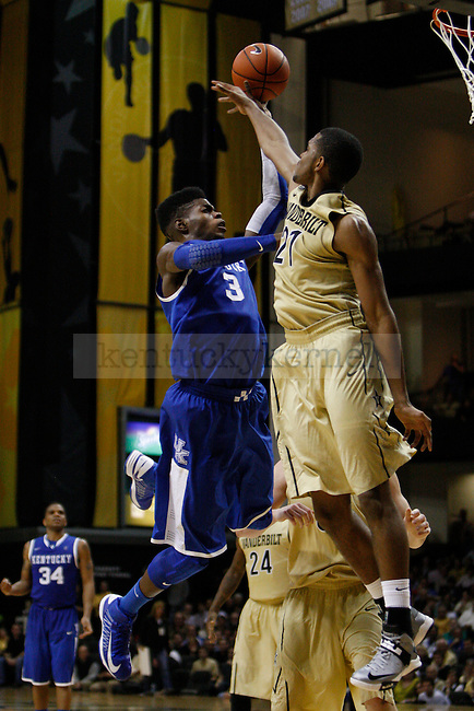 UK forward Nerlens Noel shoots the ball against Vanderbilt forward Sheldon Jeter during the second half of the UK vs. Vanderbilt men's basketball game at Memorial Gymnasium in Nashville, Tn., on Thursday, January 10, 2013. UK won 60-58. Photo by Tessa Lighty | Staff