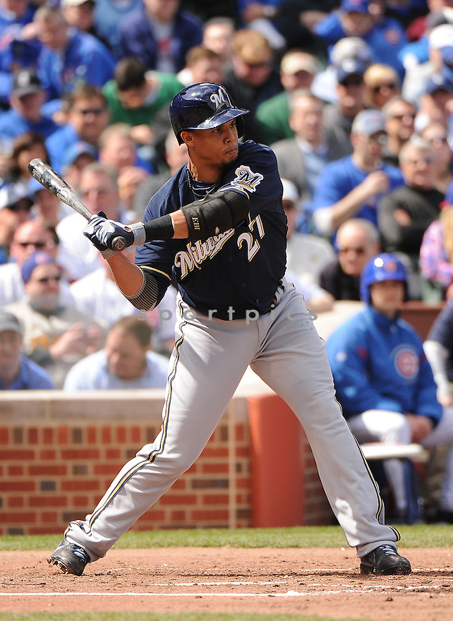Milwaukee Brewers Carlos Gomez (27) during a game against the Chicago Cubs on April 8, 2013 at Wrigley Field in Chicago, IL. The Brewers beat the Cubs 7-4.