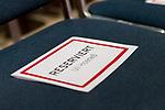 15.11.2019, Olympiahalle München , Muenchen, GER, 1.FBL,  FC Bayern Muenchen Jahreshauptversammlung 2019, DFL regulations prohibit any use of photographs as image sequences and/or quasi-video, im Bild Reservierter Stuhl für Uli Hoeness <br /> <br />  Foto © nordphoto / Straubmeier