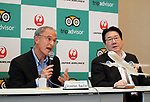 "September 11, 2017, Tokyo, Japan - World's largest travel site operator TripAdvisor president Stephen Kaupher (L) speaks while Japane Airlines (JAL) president Yoshiharu Ueki looks on at the JAL headquarters in Tokyo on Monday, September 11, 2017. TripAdvisor and JAL announced a strategic partnership and JAL will launch a website of ""Untold Stories of Japan"" on the TripAdvisor website from October for the promotion of tourism in Japan. (Photo by Yoshio Tsunoda/AFLO) LWX -ytd-"