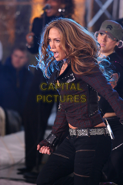 "JENNIFER LOPEZ.The ""Today"" Show's Concert Series, Rockefeller Plaza, New York City, New York.March 3rd, 2005.half length plaid top jacket dancing singing.www.capitalpictures.com.sales@capitalpictures.com.© Capital Pictures"