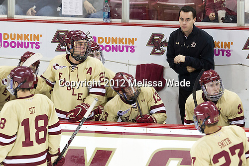 Steven Whitney (BC - 21), Pat Mullane (BC - 11), Johnny Gaudreau (BC - 13), Tom Maguire (BC - Senior Manager), Patch Alber (BC - 3) - The Boston College Eagles defeated the visiting University of Notre Dame Fighting Irish 3-1 (EN) on Friday, November 9, 2012, at Kelley Rink in Conte Forum in Chestnut Hill, Massachusetts.