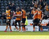 Hull City v Bristol City 2.4.16 .Sky Bet Championship ....... Hulls Robert Snodgrass is congratulated after scoring his sides 2nd