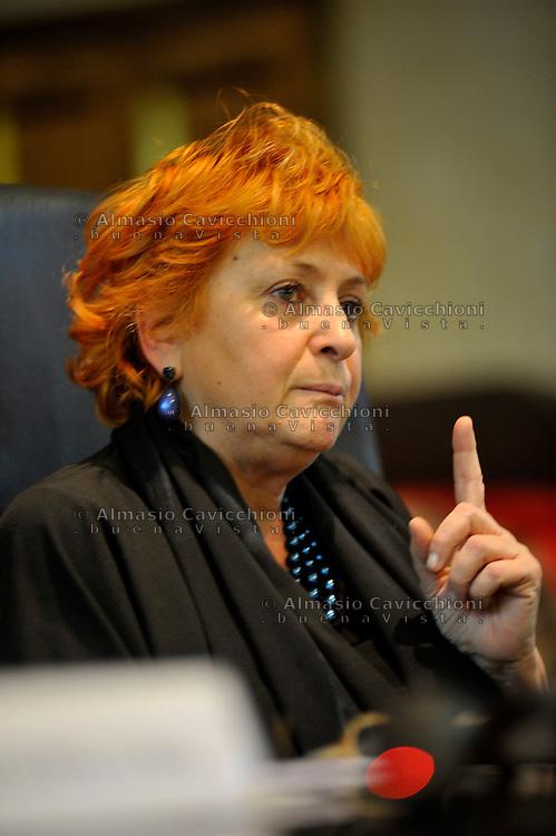 31 GEN 2011; Milano; Palazzo di Giustizia; convegno su Le mafie e la societa' civile;. ILDA BOCCASSINI, procuratore aggiunto e coordinatrica della Direziome Distrettuale Antimafia