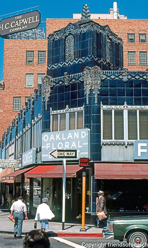 Oakland. Oakland Floral Depot, 1931. 1900 Telegraph. Albert Evers. Terra Cotta, Zigzag Moderne.   Photo '78.
