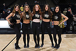 (L-R) Wake Forest Demon Deacons dance team seniors Mariana Linares, Alex Smith, Katelyn King, Molly Bridges, and Yifei Wu pose for a photo following the men's basketball game against the Notre Dame Fighting Irish at the LJVM Coliseum on February 24, 2018 in Winston-Salem, North Carolina. The Fighting Irish defeated the Demon Deacons 76-71.  (Brian Westerholt/Sports On Film)