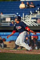Lowell Spinners third baseman Aneudis Peralta (5) at bat during a game against the Batavia Muckdogs on August 12, 2015 at Dwyer Stadium in Batavia, New York.  Batavia defeated Lowell 6-4.  (Mike Janes/Four Seam Images)