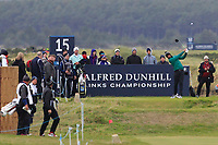 Tony Finau (USA) on the 15th tee during round 4 of the Alfred Dunhill Links Championship at Old Course St. Andrew's, Fife, Scotland. 07/10/2018.<br /> Picture Thos Caffrey / Golffile.ie<br /> <br /> All photo usage must carry mandatory copyright credit (&copy; Golffile | Thos Caffrey)