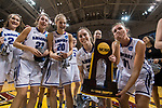 GRAND RAPIDS, MI - MARCH 18: Amherst College celebrate with their national championship trophy during the Division III Women's Basketball Championship held at Van Noord Arena on March 18, 2017 in Grand Rapids, Michigan. Amherst College defeated Tufts University 52-29 for the national title. (Photo by Brady Kenniston/NCAA Photos via Getty Images)