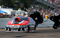 Aug. 18, 2013; Brainerd, MN, USA: NHRA pro stock driver V. Gaines during the Lucas Oil Nationals at Brainerd International Raceway. Mandatory Credit: Mark J. Rebilas-