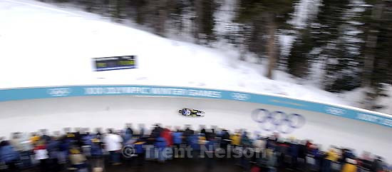 First round, Mens Luge, Sunday evening at the Utah Olympic Park, 2002 Olympic Winter Games.; 02.10.2002, 4:30:29 PM<br />
