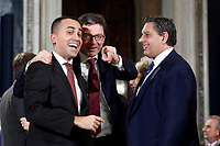 Luigi di Maio Movement 5 Stars party, Giancarlo Giorgetti Lega Nord party and Giovanni Toti Forza Italia party<br /> Rome December 19th 2018. Quirinale. Traditional exchange of Christmas wishes between the President of the Republic and the institutions.<br /> Foto Samantha Zucchi Insidefoto