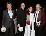 "Alain Boubil, Claude-Michel Schonberg, Catherine Ricafort and Cameron Mackintosh during The Opening Night Actors' Equity Gypsy Robe Ceremony honoring Catherine Ricafort for the New Broadway Production of  ""Miss Saigon""  at the Broadway Theatre on March 23, 2017 in New York City"
