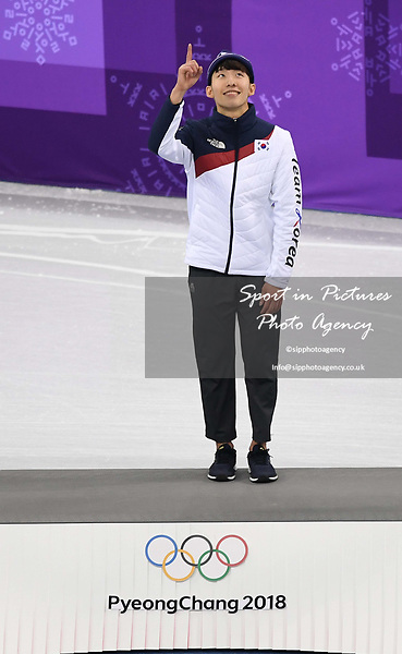 Hyojun Lim (KOR) signals that he is number one after winning the final. Short track. Gangneung ice arena. Pyeongchang2018 winter Olympics. Gangneung. Republic of Korea. 10/02/2018. ~ MANDATORY CREDIT Garry Bowden/SIPPA - NO UNAUTHORISED USE - +44 7837 394578