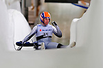 7 February 2009: Thor Haug Norbech, sliding for Norway, is unable to complete his run after falling off his sled during the first run in the Men's Competition at the 41st FIL Luge World Championships, in Lake Placid, New York, USA. .  .Mandatory Photo Credit: Ed Wolfstein Photo