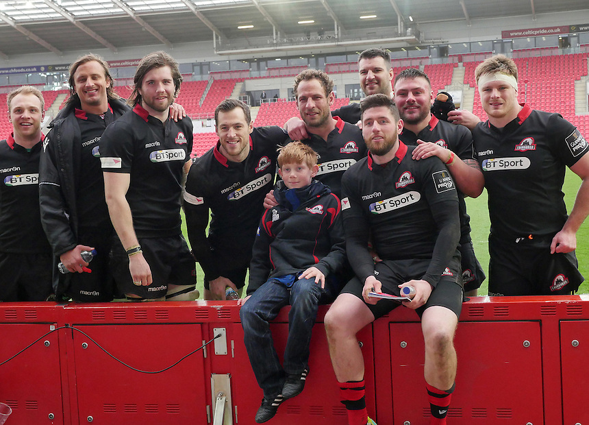 Young Edinburgh fan Samuel Massy has a photo with the Edinburgh players <br /> <br /> Photographer Ian Cook/CameraSport<br /> <br /> Rugby Union - Guinness PRO12 - Scarlets v Edinburgh - Saturday 28th March 2015 - Parc y Scarlets - Llanelli<br /> <br /> &copy; CameraSport - 43 Linden Ave. Countesthorpe. Leicester. England. LE8 5PG - Tel: +44 (0) 116 277 4147 - admin@camerasport.com - www.camerasport.com