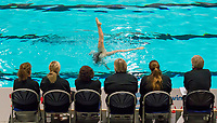 Picture by Allan McKenzie/SWpix.com - 25/11/2017 - Swimming - Swim England Synchronised Swimming National Age Group Championships 2017 - GL1 Leisure Centre, Gloucester, England - Judges look on at the individual figure performances.