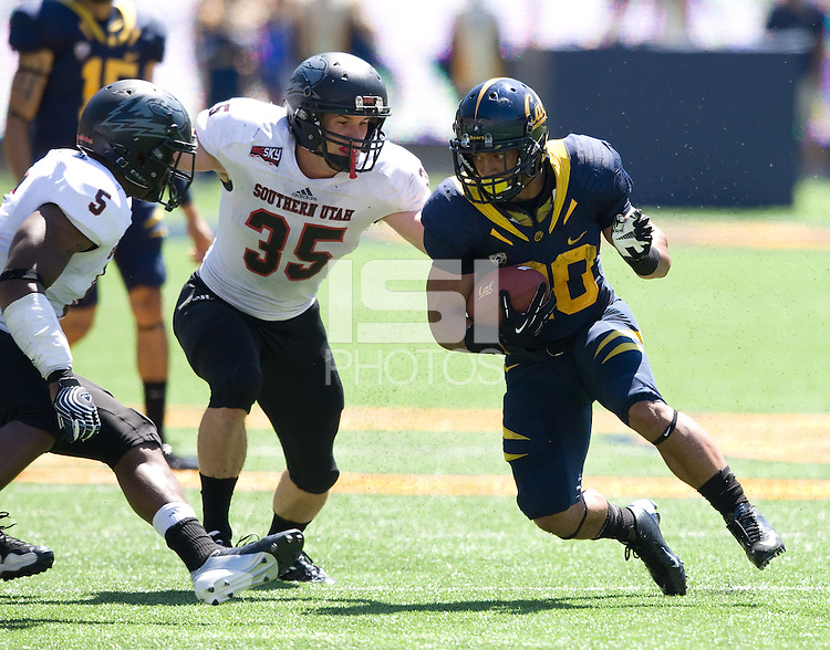 Isi Sofele of California runs the ball during the game against Southern Utah at Memorial Stadium in Berkeley, California on September 8th, 2012.   California Golden Bears defeated Southern Utah, 50-31.